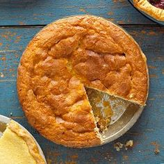 Try this classic recipe combination of cake baked into a pie shell. This standard variation is often called a