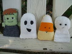 Halloween finger puppets--Frankenstein, ghost, candy corn, mummy---Dandelion Wishes