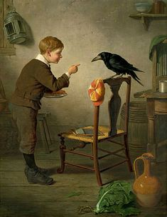"Sooo, do you think the Boy is Scolding Raven? Perhaps Corvidae wanted some of the Yummy Treats on that Plate......?? ""Boy with raven"" 1879 Artist......_____?????"