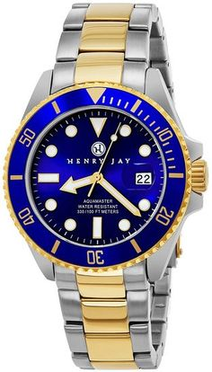 Henry Jay Men's Analog Quartz 23K Gold Plated Two Tone Stainless Steel Aquamaster Dive Watch