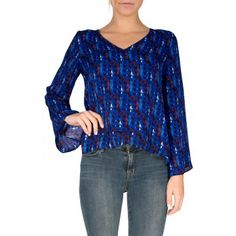 Parker Rita Top in Currents - Long sleeve silk blouse with v-neckline, bell sleeves, and cascading asymmetric hemline.   Check out all our Parker tops here!  http://www.shopcrushboutique.com/parker.html