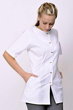 Spa tunic, spa fashion, psa outfit, tunic, white tunic, uniform White Tunic, Clinic, Chef Jackets, Spa, Outfits, Fashion, Moda, Suits, White Peplum