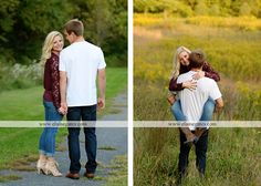 Mechanicsburg Central PA engagement portrait photographer outdoor couple orchard road path trees holding hands kiss hug love barn field wildflowers {Liz S.}