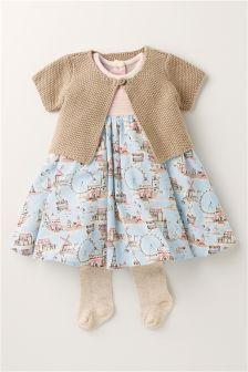 Next Print Dress, Cardigan and Tights Set (0mths-2yrs) £23.50 Beach Wear Dresses, Girls Dresses, Baby Girl Fashion, Kids Fashion, Unisex Baby Clothes, Babies Clothes, Romper Suit, Baby Girl Romper, Girls Rompers