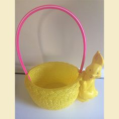 Vintage 70s pink plastic easter basket retro event holidays vintage yellow easter basket with attached bunny by retrodazy negle Choice Image