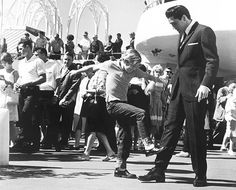 In one of the most interesting bits of Elvis trivia, this eleven-year-old boy pictured kicking Elvis in the shins in It Happened at the World's Fair is none other than Kurt Russell in his first movie role, albeit an uncredited one. What makes it all the more interesting is that Russell would later play Elvis in the acclaimed TV Movie, Elvis, for which he would receive a Golden Globe nomination.