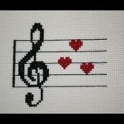 Treble Clef Music Love PDF Cross Stitch Pattern, Music Hearts Valentines Embroidery Chart, Instant D Bird Embroidery, Embroidery Transfers, Cross Stitch Embroidery, Embroidery Patterns, Pdf Patterns, Embroidery Hearts, Cross Stitch Music, Cross Stitch Heart, Cross Stitch Designs
