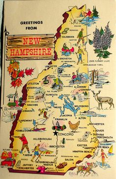Greetings from New Hampshire map postcard