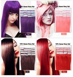 도매 브라질 테이프 머리 확장 16-24 인치 20 개/몫 머리 확장 테이프 피부 씨실 인간의 머리 테이프 확장