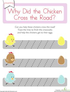 Worksheets: Why Did the Chicken Cross the Road: Diagonal Lines 1