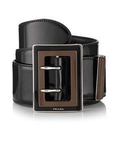 Black & brown leather logo belt  by Prada on secretsales.com