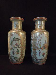 LA-6358 Pair Chinese porcelain Famille Rose and gilt vases. 16.5''H 7.5''Diam