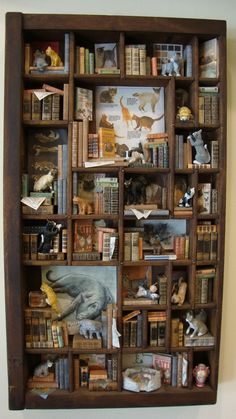 """Miniature Library miniature thematic  """" invasion of cats"""". €600.00, via Etsy."""