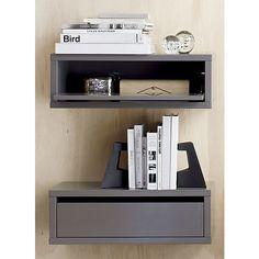 slice grey wall mounted storage shelf  | CB2
