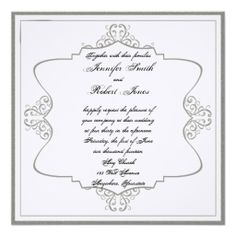 This beautiful and elegant design, called Graphite Grey and White Filigree Posh Wedding, has a beautiful but simple design. #Wedding #Invitations