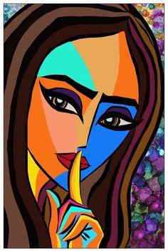 (Canvas print available) Abstract Portrait Painting, Abstract Face Art, Acrylic Painting Canvas, Portrait Art, Canvas Art, Afrique Art, Cubism Art, Indian Art Paintings, Arte Pop
