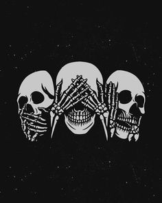 See no evil, hear no evil, speak no evil design FOR SALE! Skull Wallpaper, Halloween Wallpaper Iphone, Halloween Backgrounds, Cute Wallpapers, Wallpaper Backgrounds, Iphone Wallpaper, Black Aesthetic Wallpaper, Aesthetic Wallpapers, Skeleton Art