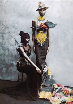 Kiara Kabukuru and Debra Shaw in Christian Dior Haute Couture by John Galliano, photographed by Peter Lindbergh for Vogue Italia, 1997 Foto Fashion, Fashion Week, Fashion Art, Fashion Design, Dior Fashion, Trendy Fashion, Fashion Essay, Dolly Fashion, Tribal Fashion