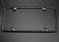 carfond 2 row pure handmade bling rhinestoned stainless steel license plate frameblack carfond