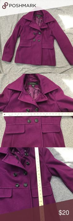 Purple plum wool pea coat apostrophe no flaws Preloved but in excellent condition! The exterior is a wool blend that picks up everything-I lint rolled but some lint and a cat hair here and there are still present. No rips to liner and no stains to exterior. I'm going to list a matching plaid cashmere scarf that would make a lovely bundle! The third picture is the closest in terms of color- it's a dark purple. Apostrophe Jackets & Coats Pea Coats