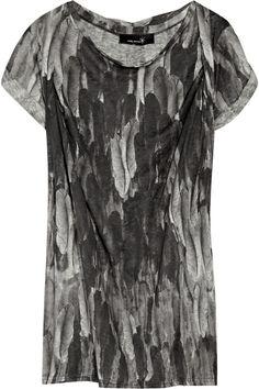 ISABEL MARANT Gray Feather-Print Linen Top