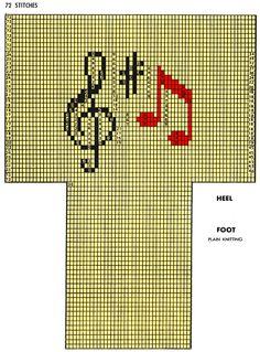 Music Socks Pattern #7237 chart