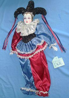harlequin dolls | DYNASTY BISQUE PORCELAIN MAURICE HARLEQUIN JESTER DOLL - Vintage-Toys ...