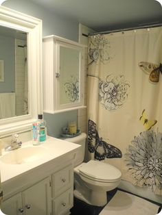 Before After Striped Wall Bathroom Facelift Pinterest Striped - Bathroom facelift