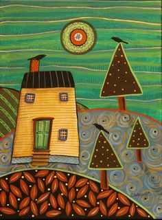 At Home 12x16 inch Birds House ORIGINAL CANVAS PAINTING Folk Art Karla Gerard #FolkArtAbstractPrimitive