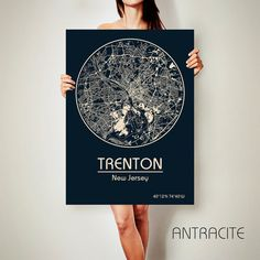 TRENTON New Jersey CANVAS Map Trenton New Jersey by ArchTravel