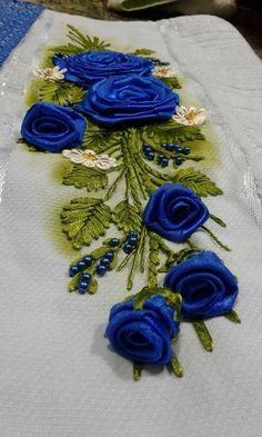 silk ribbon for embroidery supplies Hand Work Embroidery, Hand Embroidery Patterns, Embroidery Applique, Embroidery Stitches, Embroidery Designs, Hand Embroidery Projects, Ribbon Art, Ribbon Crafts, Flower Crafts