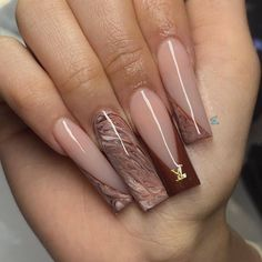 Brown Acrylic Nails, Bling Acrylic Nails, Best Acrylic Nails, Gel Nails, Brown Nails, Blush Nails, Acryl Nails, Cute Acrylic Nail Designs, Dope Nail Designs