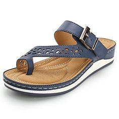 8bdf1422b Alexis Leroy Womens Comfort Wedge Heel Sandals Thong Buckle Flip Flops Blue  39 M EU 885