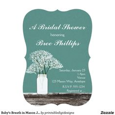 Baby's Breath in Mason Jar Rustic Invitations