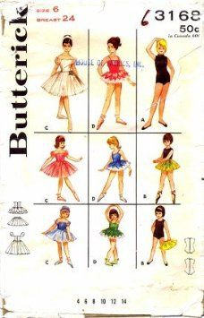 vintage pattern: Amazon.com: Butterick 3168 Sewing Pattern Girls Set of Dancing Costumes Leotard Ballerina TuTu Crown Size 6: Home & Kitchen
