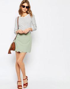 Image 1 ofASOS A-Line Mini Skirt with Scallop Hem