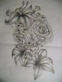 deviantART: More Like japanese flowers tattoo design by *tattoosuzette