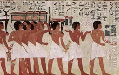 Egyptian Unknown Masters:Grave chamber of Ramose, vizier and head of Thebes under Amenhotep III. and IV, Scene funeral procession, detail