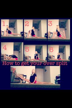 Oversplit Tips! This will help! To get your oversplits faster check out ERICA LI. Cheerleading Highlights Part 1 Cheer Stretches, Dance Stretches, Middle Splits Stretches, Dancer Workout, Gymnastics Workout, Gymnastics Stretches, Cheer Flexibility, Flexibility Workout, Streches For Flexibility