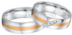tailor made high end  rose gold color  inlay  health titanium wedding bands couples rings sets for men and women