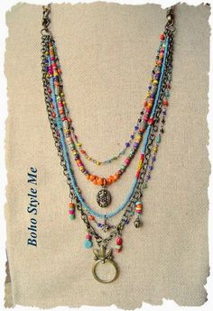 Bohemian Jewelry Col  Bohemian Jewelry Colorful Layered Beaded Necklace by BohoStyleMe