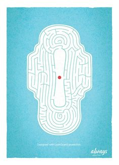 Historic Moment, Feminine Hygiene Ad Shows Blood the 'period' maze.the 'period' maze. Creative Advertising, Ads Creative, Creative Posters, Advertising Poster, Advertising Design, Advertising Campaign, Graphic Design Posters, Graphic Design Inspiration, Design Art