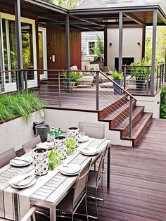 Planning a new deck or a deck makeover? Browse these pictures of beautiful decks to find inspiration for materials, layout, decorating, and more. This trio of deck tours shows how to layer comfort and (Patio Step With Railing) Outdoor Rooms, Outdoor Living, Outdoor Decor, Deck Makeover, Modern Deck, Modern Porch, Modern Backyard, Modern Farmhouse, Casas Containers