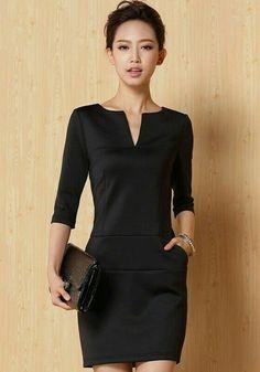 f2cd92e78bd Black Plain Half Sleeve Mini Dress--forget the
