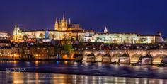 Prague Castle and Charles Bridge - The Prague Castle and the Charles Bridge on a rainy night.
