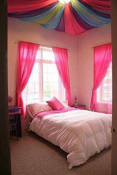 Multi color cloth ceiling girls room idea
