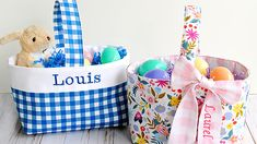 Sew a Fabric Easter Basket Homemade Easter Baskets, Easter Egg Basket, Homemade Storage, Homemade Gifts, Trash To Couture, Fabric Boxes, Fabric Gifts, Love Sewing, Teacher Gifts