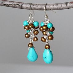 Turquoise and Pearl Cluster Earrings Sterling Silver by TheGoosle