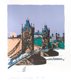 Paul Hogarth Tower Bridge, London Numbered one in a series of twenty signed Artist's Proof lithographs William Hogarth, Galleries In London, English Artists, London Art, London Calling, Map Art, Tower Bridge, Great Britain, Online Art Gallery