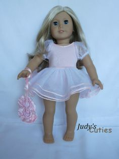 Pink Ballerina Costume w/Slippers Doll Clothes fit American Girl Doll Only